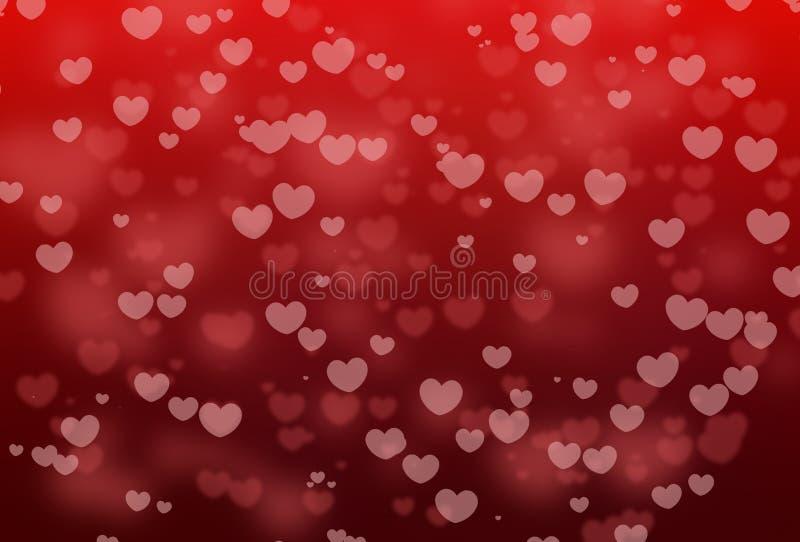 Bokeh rosso di forma del cuore con la festa dei biglietti di S. Valentino su fondo astratto rosso fotografia stock libera da diritti