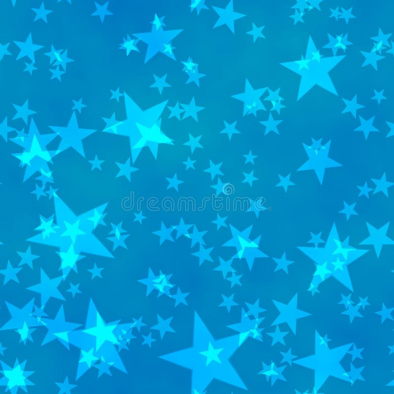 Bokeh seamless shinning background five-pointed stars in different sizes irregularly scattered on blue background stock illustration