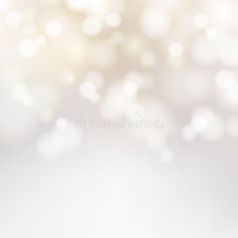 Bokeh silver och bakgrund för mousserande ljus för vit festlig med stock illustrationer