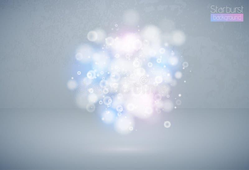 Bokeh skutka multicolor lekki tło Błękita różowy Bożenarodzeniowy pojęcie Wektorowy biały lśnienia światła wybuchu chmury tło royalty ilustracja