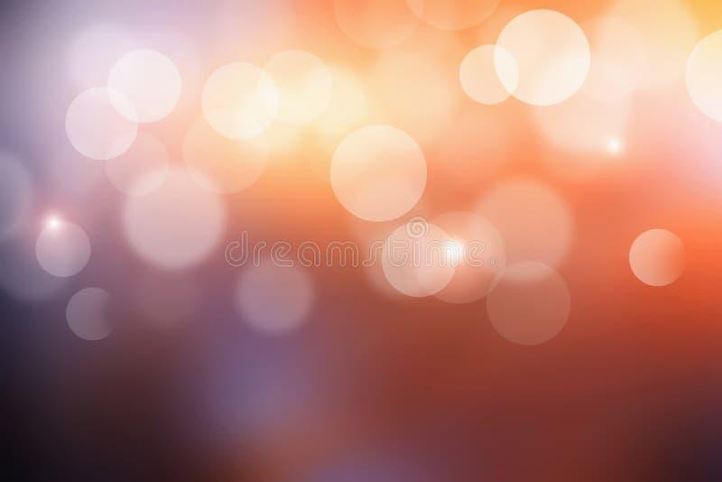 Bokeh-Sonnenlicht mit orange Lichtern der abstrakten Unschärfe Sonnenuntergang lizenzfreie abbildung