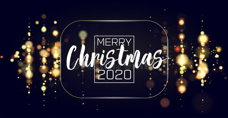 Bokeh sparkle Christmas 2020 background. Glitter lights luxury glamor background. Abstract defocused circular party. Magic christmas lights. New year glamorous stock illustration