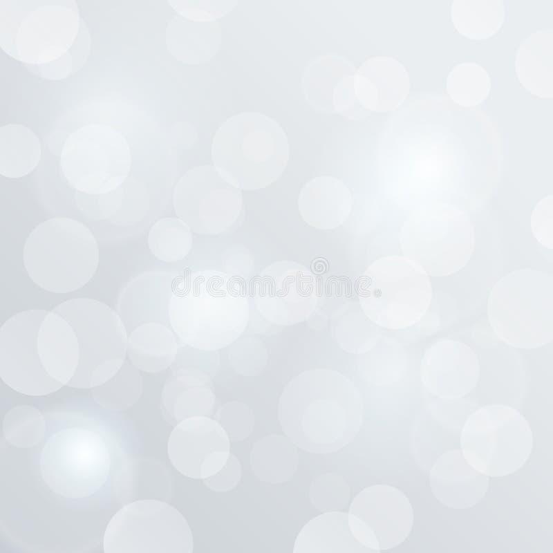 Bokeh suddig vektor. Bakgrundsabstra för vitt glöd stock illustrationer