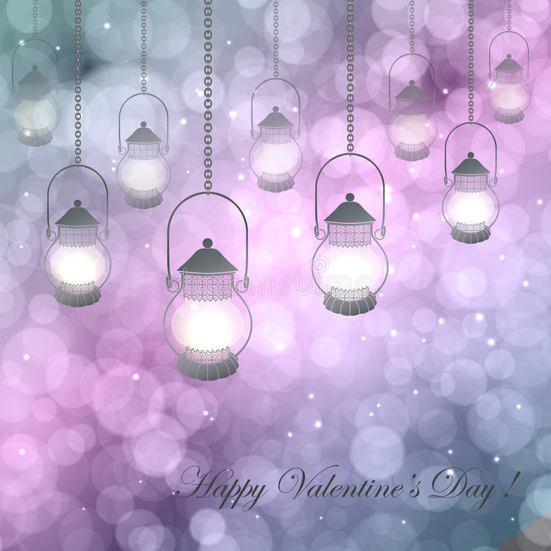 Bokeh Valentine day background royalty free illustration