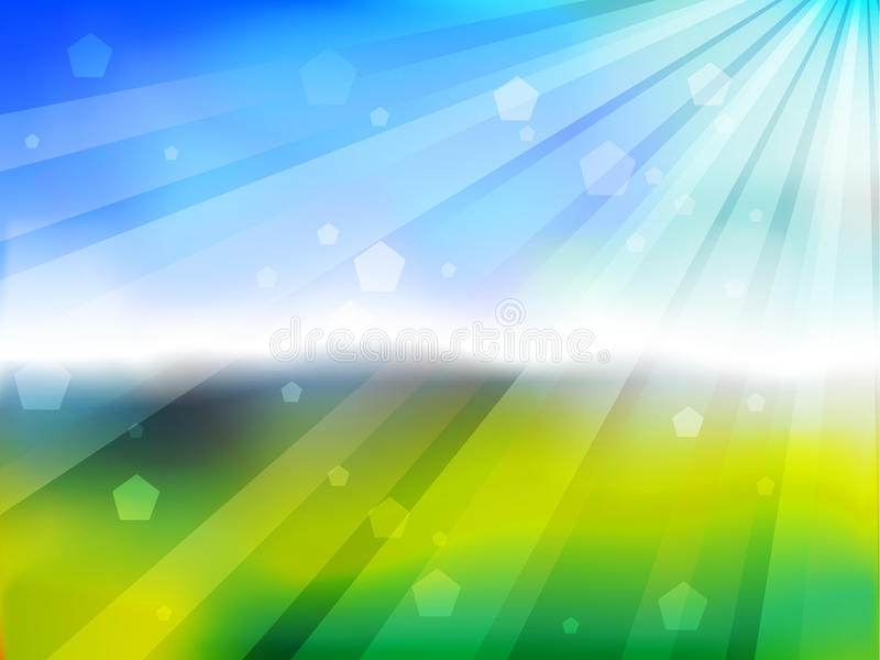 Bokeh verde com ascensão do sol ilustração stock