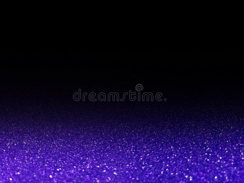 Bokeh violet glittering light shine on black, violet sparkling luxury grand bright for background cosmetics advertising, deluxe. The bokeh violet glittering royalty free stock images