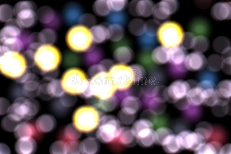 Bokeh with violet lights, abstract background. Romantic bokeh with violet colorful lights by night. Abstract texture and design stock images