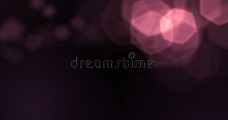 Bokeh violet pourpre abstrait de particules de bulles d'étincelle de scintillement sur le fond noir, vacances de fête de bonne an photographie stock libre de droits