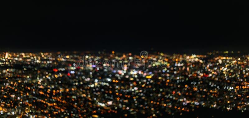 Bokeh von Stadtbild in der Otaru-Nachtstadtansicht Hokkaido Japan stockfotografie