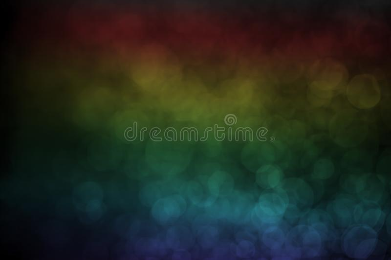 Bokeh water dot rainbow for background. Abstract light dark flare design blue black texture wallpaper holiday bright space macro celebration shiny reflection royalty free stock photos