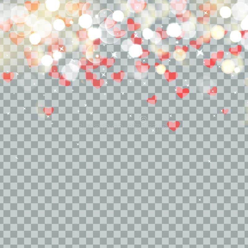 Bokeh y corazón ligeros de los pétalos de las tarjetas del día de San Valentín que caen en fondo transparente Pétalo de la flor e ilustración del vector