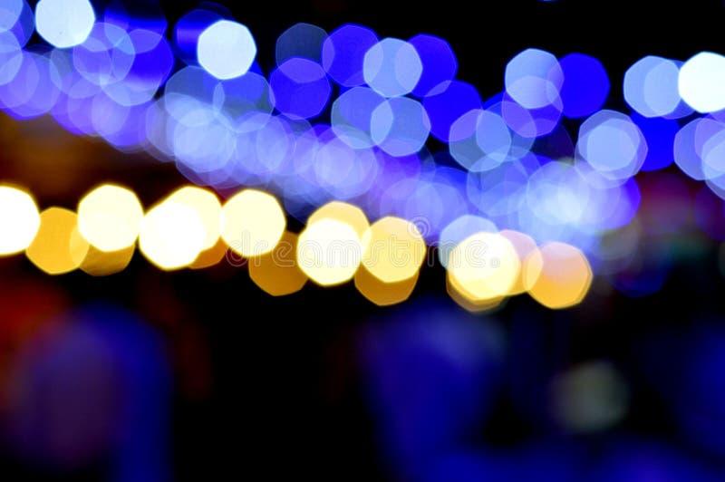 Bokeh z błękitnymi i żółtymi światłami obraz stock