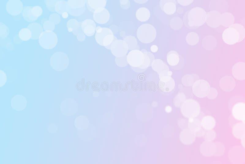 bokehbakgrund för pastellfärgade rosa färger och blåttmed kopieringsutrymme royaltyfri illustrationer