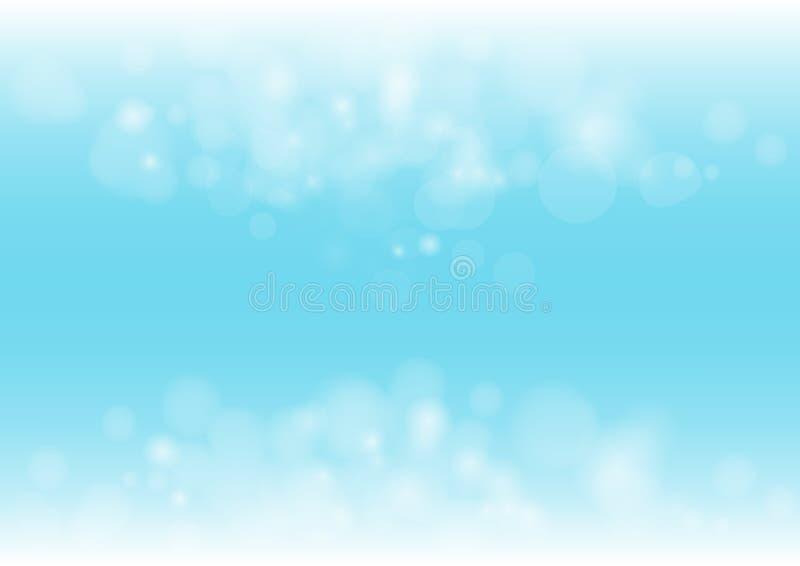Boken抽象美好的蓝色颜色照亮背景 向量例证