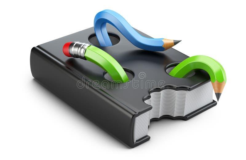 Boken avmaskar i form av blyertspennor som äter läroboken vektor illustrationer