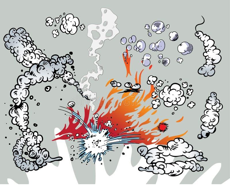 boken clouds komiska flammor royaltyfri illustrationer