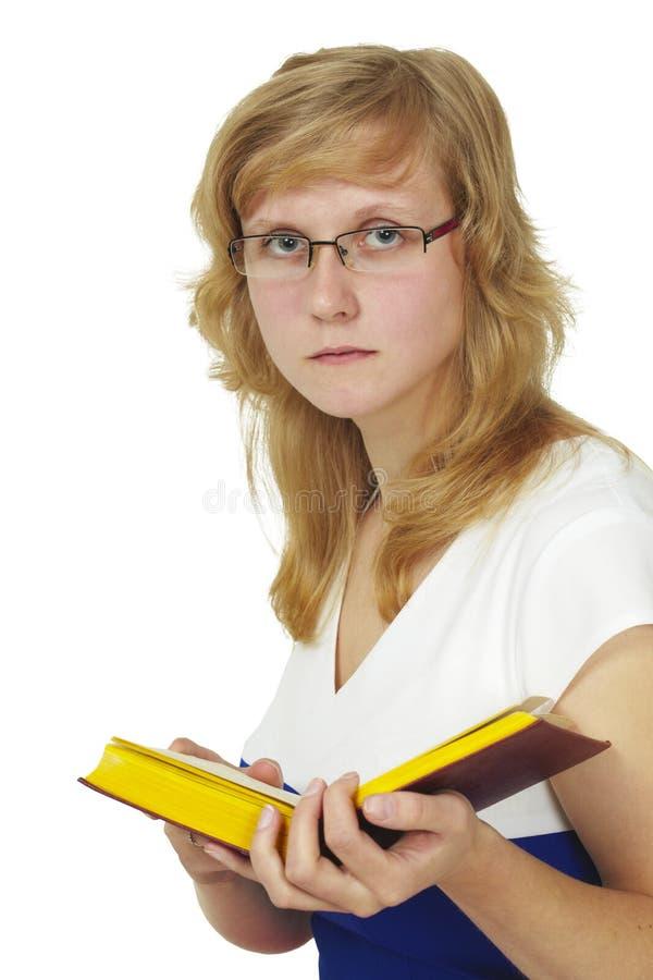 boken läser anblickar som slitage kvinnan arkivfoton