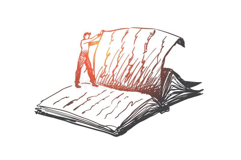 Boken läsning, arkiv, läste begrepp Hand dragen isolerad vektor royaltyfri illustrationer