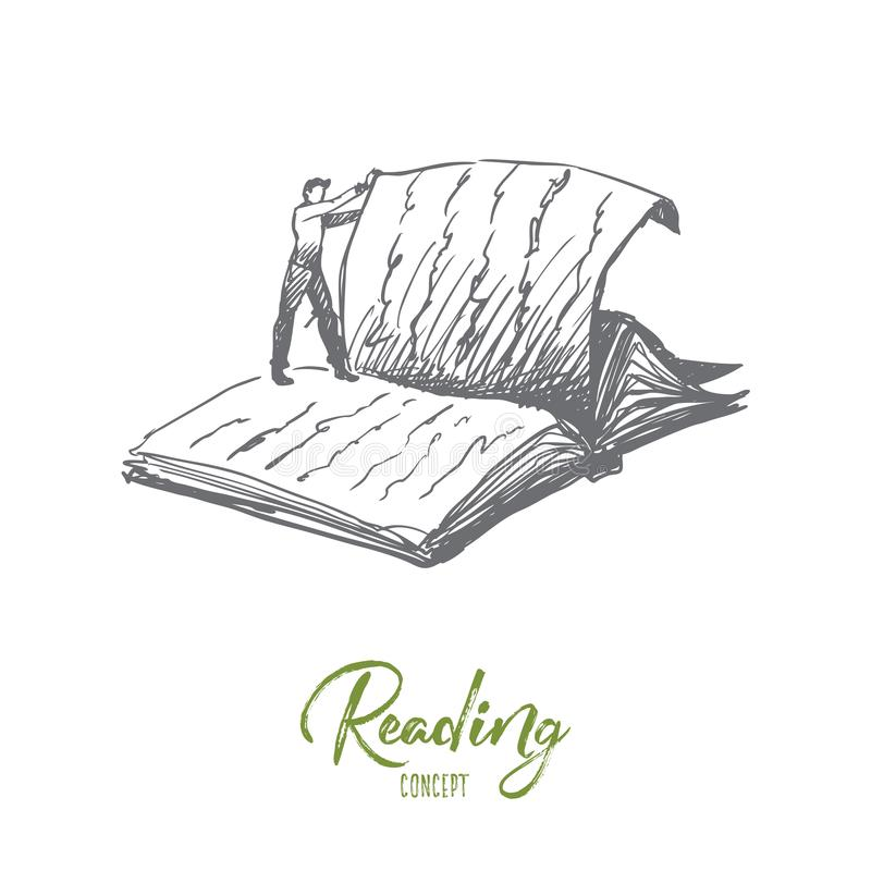 Boken läsning, arkiv, läste begrepp Hand dragen isolerad vektor stock illustrationer