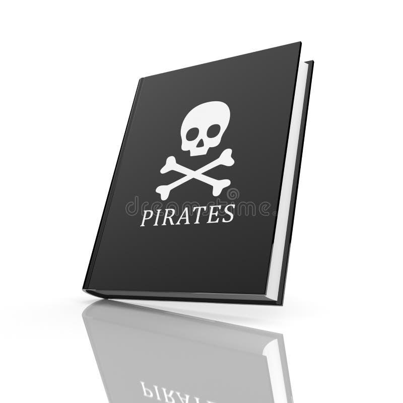 Boken med piratkopierar flaggan stock illustrationer