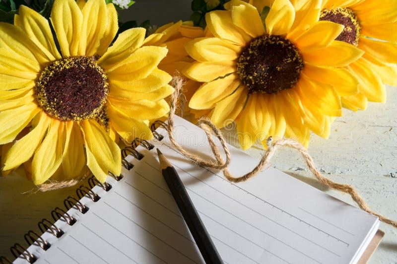 Boken med solen blommar på den wood tabellen fotografering för bildbyråer