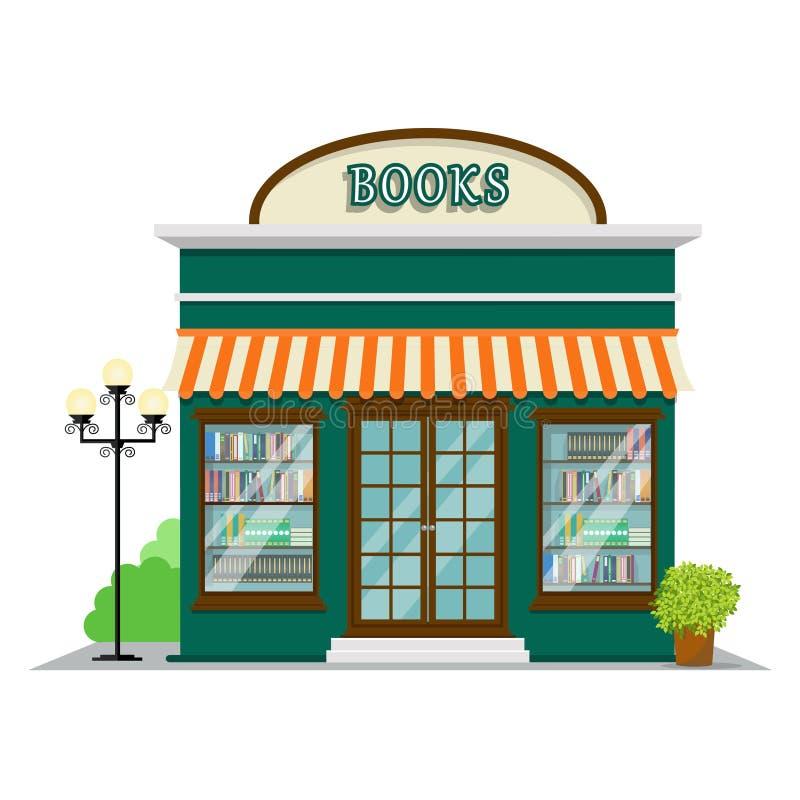 Boken shoppar Bokhandel i den plana stildesignen Shoppa illustrationen för byggnadssymbolsvektorn royaltyfri illustrationer