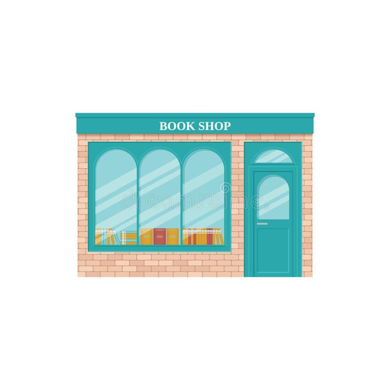 Boken shoppar, skyltfönstret också vektor för coreldrawillustration Tappninglagerframdel royaltyfri illustrationer