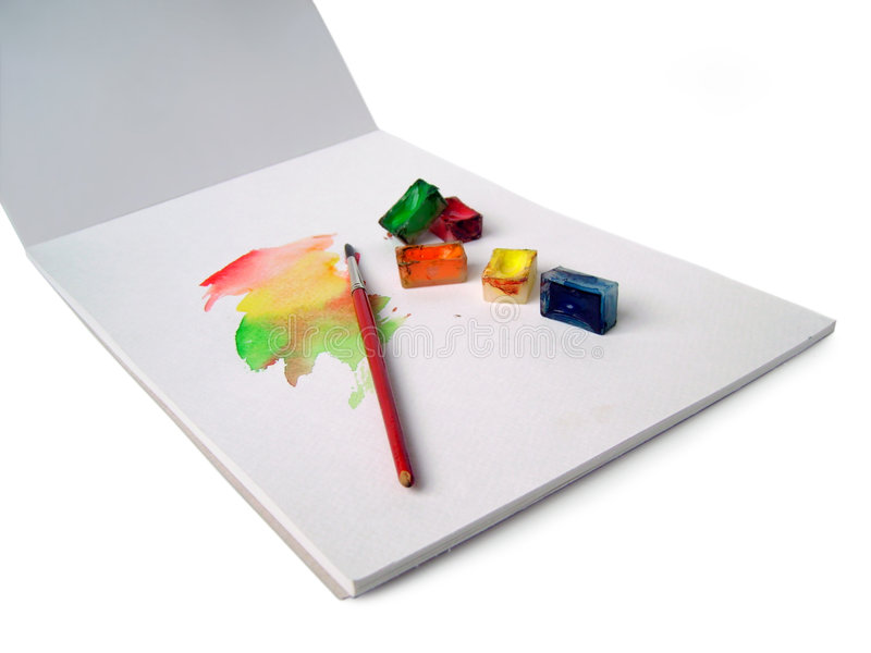 bokfärger skissar vatten arkivbild