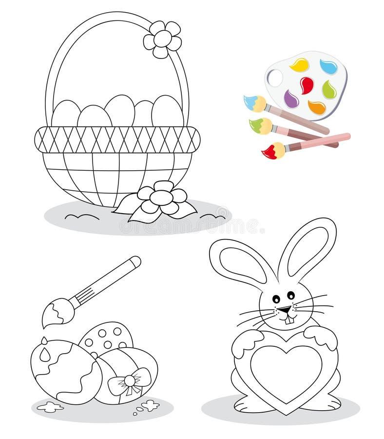 bokfärgläggningen lyckliga easter skissar vektor illustrationer