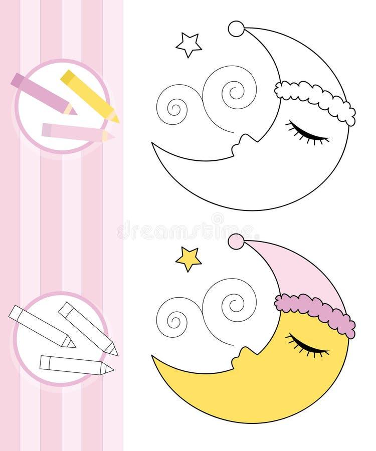 bokfärgläggningmoonen skissar att sova vektor illustrationer