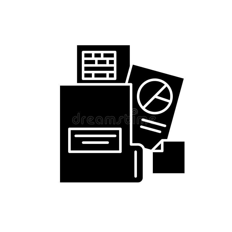 Bokföringsunderlagsvartsymbol, vektortecken på isolerad bakgrund Bokföringsunderlagbegreppssymbol, illustration stock illustrationer
