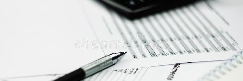Bokf?ringsunderlag granskar och analyserar Investeringsportf?lj royaltyfria foton