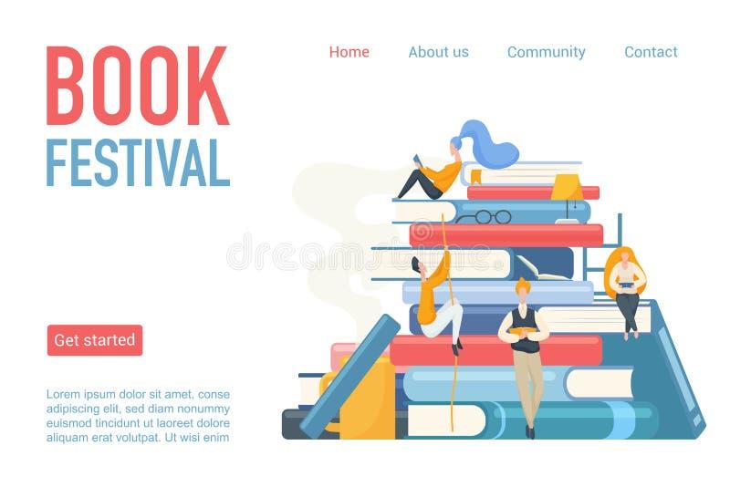 Bokfestival som landar illustrationen för sidaaffischvektor Studenter man och kvinnaläsning som lutar och sitter på stora böcker royaltyfri illustrationer