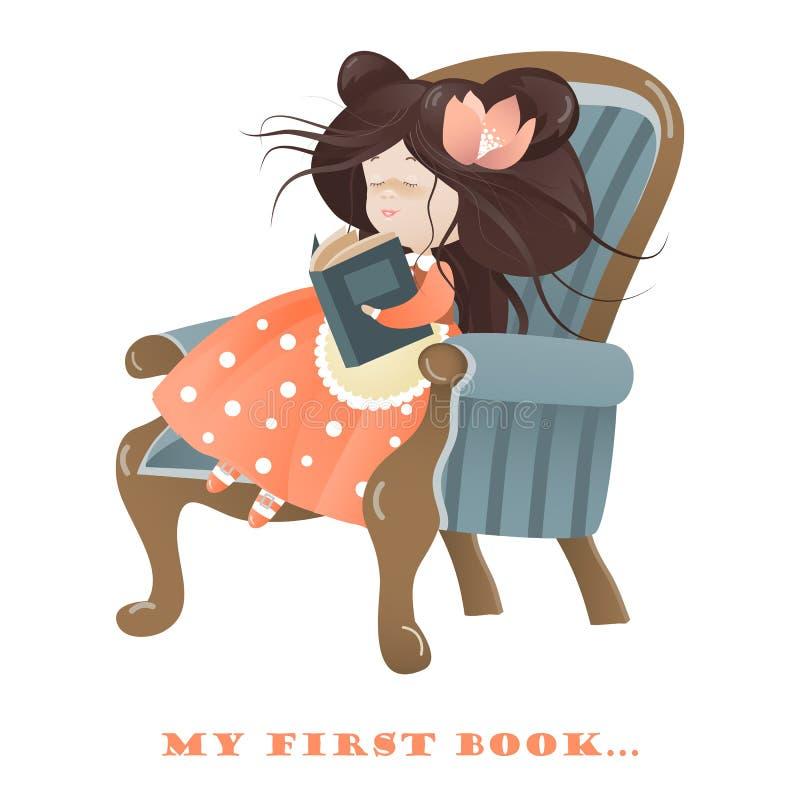 bokflicka little avläsning stock illustrationer
