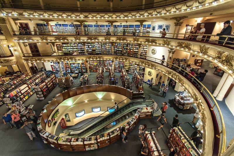 Bokhandel El Ateneo, Buenos Aires, Argentina arkivbilder