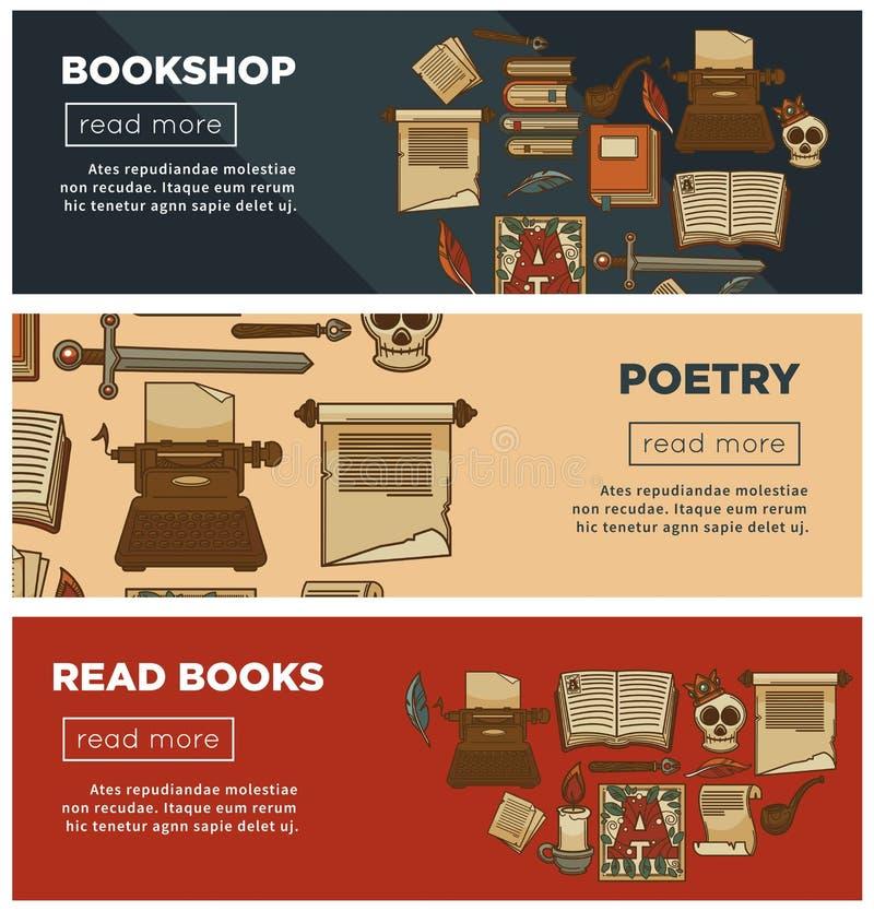 Bokhandel- eller bokhandelbaner av vektorarkivtappning bokar, färgpulvervingpennan och poesibrevpapper stock illustrationer