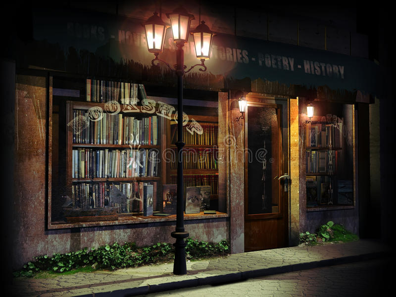 Bokhandel på natten stock illustrationer