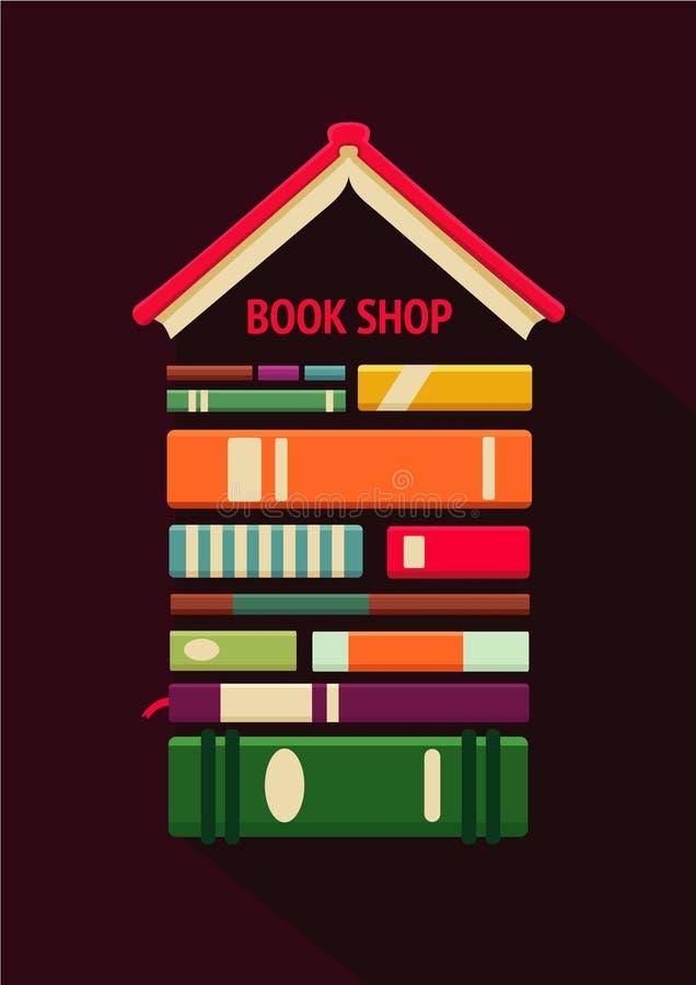 Bokhandeltecken Affisch för boklager Plan stil, logomodell stock illustrationer