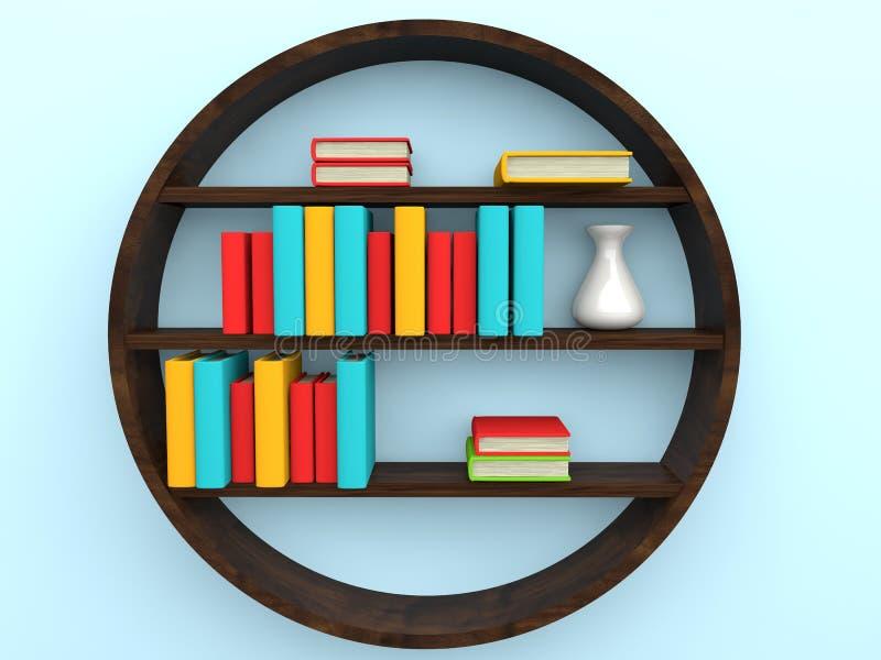 bokhylla 3d med böcker stock illustrationer