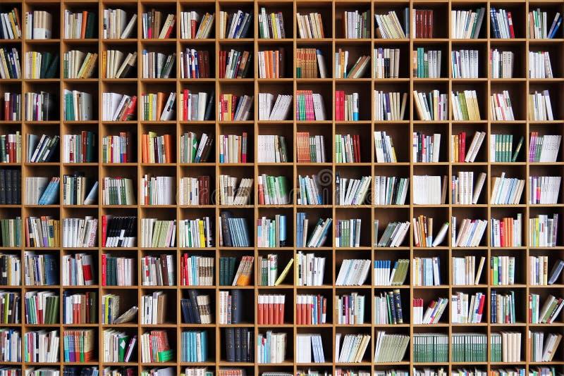Bokhylla i offentliga biblioteket arkivbild