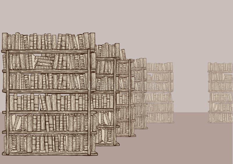 bokhyllaarkiv stock illustrationer