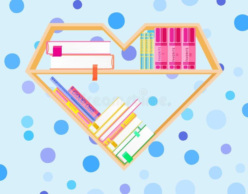 Bokhyllahjärta som formas med färgrika böcker Läs- klubba för bok böcker som jag älskar Hem- arkiv med litteratur, vektor royaltyfri illustrationer