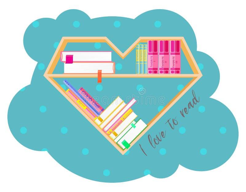 Bokhyllahjärta som formas med färgrika böcker Läs- klubba för bok böcker som jag älskar Hem- arkiv med litteratur, vektor vektor illustrationer