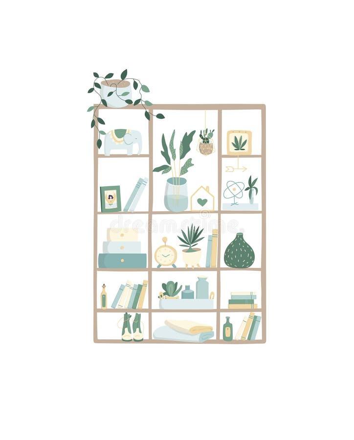 Bokhyllamall, färgrika hardcovers, hängande trähylla med houseplants och vaser på det vita hem- arkivet, garnering royaltyfri illustrationer