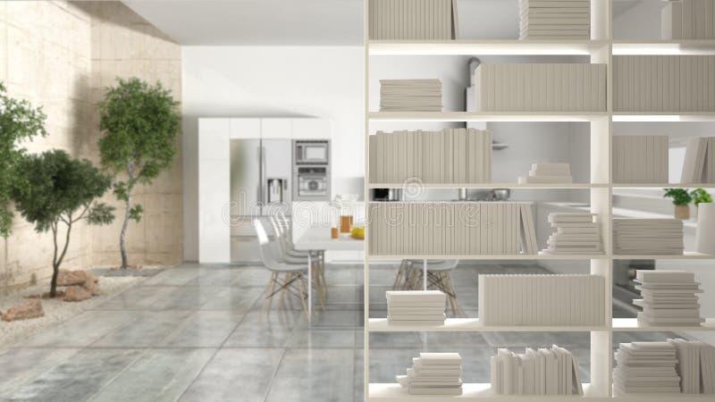 Bokhyllanärbild som bordlägger förgrund, inredesignbegrepp, modernt kök med trädgården i bakgrunden royaltyfri fotografi
