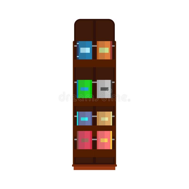 Bokhyllan shoppar litteratur för bokhyllan för arkivet för vektorutbildningssamlingen Inre rad för rum för träbuntmöblemang stock illustrationer