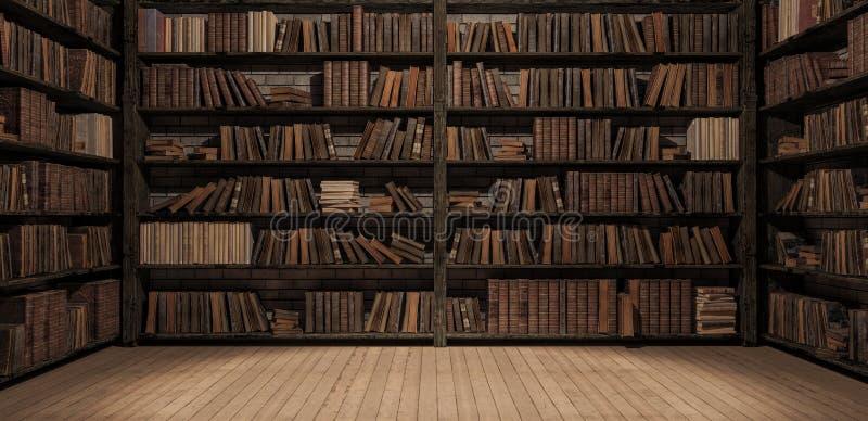 Bokhyllor i arkivet med gamla böcker 3d att framföra vektor illustrationer
