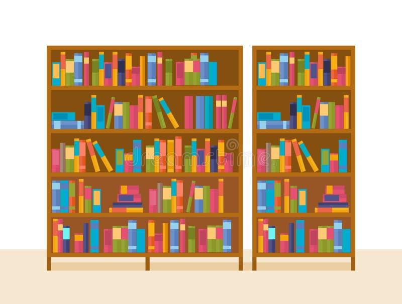 Bokhyllor i arkivet, med undervisningmaterial och allmän litteratur vektor illustrationer