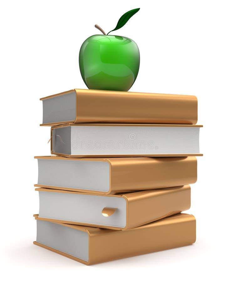 Bokläroböcker staplar det guld- gula studerande äpplet för litteratur stock illustrationer