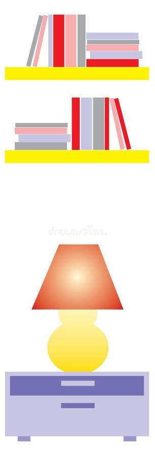 boklampan shelves yellow arkivbilder